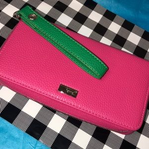 Pink faux leather wallet & Green wristlet strap